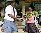The late Tui Macuata Ratu Aisea Katonivere with WWF Asia Pacific Director Dr Isabelle Louis at the launch of the Macuata Marine Protected Areas Network at Naduri Village in 2005