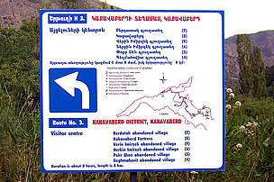 Ecotourism Trail Sign in Kakavaberd District, Armenia.
