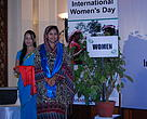 Chief Guest Ms. Mohna Ansari after unveiling the hidden 'Women' among greenery during the inauguration