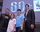 CEO and Co-founder of Earth Hour Global, Andy Ridley; CEO of WWF-SIngapore, Elaine Tan; Earth Hour ambassador Nadya Hutagalung; and head of Sustainability at Marina Bay Sands, Kevin Teng; pose for a photo at the global launch of the Earth Hour 2013 campaign.