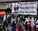 WWF banner at the Climate Change demonstration in Montreal, December 2005, during the UN Climate Conference COP11.
