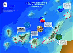 This map identifies areas around the Canary Islands that WWF-Spain is seeking to protect. / &copy;: WWF-Spain
