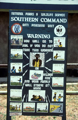Anti-poaching signboard at Lochinvar National Park Kafue Flats, Zambia. / ©: WWF-Canon / Sandra MBANEFO OBIAGO