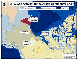 Map showing where oil and gas is being mined/explored for in the arctic region. / ©: WWF