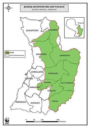 Departamentos que abarca el BAAPA / ©: WWF Paraguay