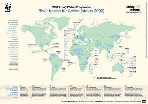 River basin map (2002) shows basins with ongoing or planned WWF basin-oriented conservation work. / &copy;: WWF