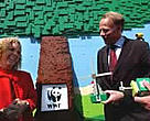 Germany's minister for environment, Jürgen Trittin, with WWF's Climate Change Programme Director, Jennifer Morgan, at WWF's colourful LEGO renewable energy exhibit at the conference.