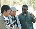 Conservancy manager (right) from the Caprivi region explains the importance of community involvement in natural resource management.
