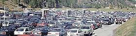 Crowded car park near Zermatt, Switzerland / ©: A. Weissen / WWF European Alpine Programme