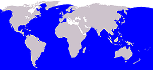 Fin whale range / &copy;: Wikipedia