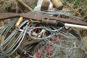Confiscated snares and guns, Eastern Plains Landscape, Cambodia