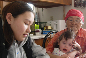 A student interviews a Unalakleet elder about the changes in climate that she has witnessed in her ... / &copy;: Henry Oyoumick
