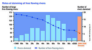 Rates of damming of free flowing rivers. / ©: WWF