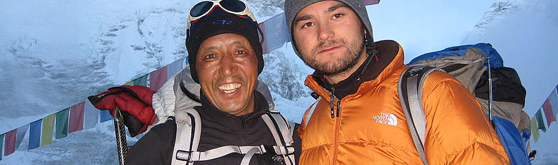 Dawa Steven Sherpa and Apa Sherpa at Everest Base Camp in May 2008. / &copy;: Dawa Steven Sherpa / Asian Trekking