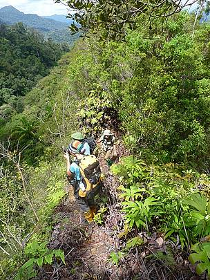 People hiking through mountains in Sabah