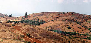 Fields and deforestation. November, the end of the dry season. Malawi.