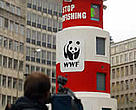 WWF's virtual demonstration outside the meeting of the European Union's Fisheries Ministers in Brussels.