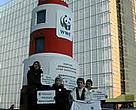 WWF Fisheries campaign team outside the WWF lighthouse.