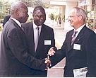 WWF International Director-General Dr Claude Martin (right) recieves Kenya's Vice-President Moody Awori (left). Also present is Kenya's Environment Minister Dr Newton Kulundu.