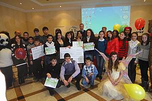 Group photo of essay competition winners