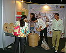 Cambodian green rattan products at the fair drawing buyers' interest