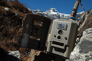 A camera trap, used to monitor species such as snow leopards, and tigers.