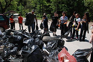 Volunteers participate in WWF's National Day of Nature Parks in Vitosha Nature Park, Bulgaria, 2010