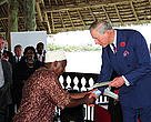 Chairman of BMU (Beach Management Unit) in Njianne Village, Kilwa District Bashiru Mohammed Issa Kamila receives a WWF's Leaders for a Living Planet award from Prince Charles. The Award recognizes individuals who have made a significant contribution to the conservation of the natural world and sustainable development.