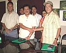 (From left to right) Mr Ghana S. Gurung, Mr Anil Manandhar and Mr Tsetan Dandu Sherpa at the Grant signing, WWF Nepal