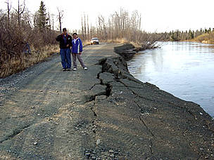 Riverbank erosion undermines a road. Unalakleet, Alaska. / &copy;: Native Village of Unalakleet
