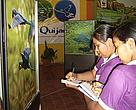 Students visiting the exhibit
