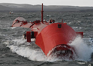 Red metal, jointed tubing moving in the sea waves. / &copy;: Pelamis Wave Power