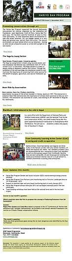 Hariyo Ban Program, E-newsletter, Issue 3, December 2012