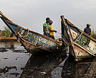 Fishermen on the shores of Virunga's Lake Edward.
