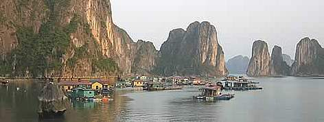 Fishing community in Halong Bay, Vietnam. rel=