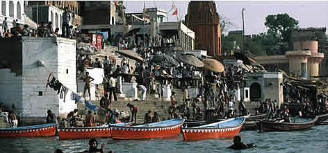 Typical daily scene along the Ganges River, with people bathing and having their ritual ablutions. ... rel=