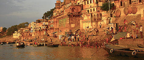 Sunrise at the Ganges River in Varanasi, India.  rel=