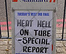 Newspaper headline during the heatwave of summer 2003, London, UK. If we don't drastically reduce CO2 emissions, then we may see more and more heatwaves.