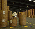FSC Sweden  Finished FSC paper at Dockside.  SCA supplier of paper from certified forest.  Sundsval, Sweden.