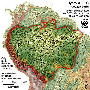Map showing all Amazon tribuatries / &copy;: WWF, U.S. Geological Survey, ICTA, TNC, University of Kassel
