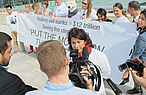 Samantha Smith giving interviews at ABBA Demo at COP18, Doha, Qatar © WWF / Matthias Beyer