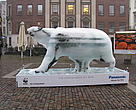 Ice Bear sculpture outside the WWF Arctic Tent in Nytorv Square, Copenhagen, for COP15.