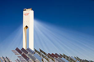 The PS20 solar thermal tower, the only such working solar tower currently in the world. Its is part of the Solucar solar complex owned by Abengoa energy, in Sanlucar La Mayor, Andalucia, spain. The site has solar tower, parabolic trough and photovoltaic solar technology on the complex, generating 183 MW in total, enough to power 94,000 households and eliminating 114,000 tons of C02 emissions annually.