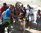 Kids in Beheloke have drinking water for the first time in their lives after the installation of the solar powered desalinisation plant in their village, 2012, Beheloke, Madagascar 