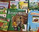 A Wonderworld of knowledge book on rainforests is among German childrens book titles published on paper derived from rainforest destruction.