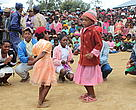 Kids dancing during forest management transfer celebrations, Fandriana, Madagascar
