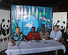 WWF Shark Conservation Manager Ian Campbell to the left with representatives from the Solomon Islands Government, CEO WWF Australia Dermot O'Gorman and WWF Solomon Island representative Shannon Seeto to the right at the 9th Pacific Islands  Conference on Nature Conservation and Protected Areas held in Suva, Fiji
