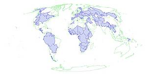 Transboundary river basins cover almost half of the earth's surface. / ©: Wolf, A., J. Natharius, J. Danielson, B. Ward, and J. Pender. 1999. International River Basins of the World, International Journal of Water Resources Development 15(4) 387-427.