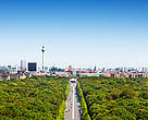 Aerial view over Berlin Skyline with TV Tower,Reichstag, Brandenburg Gate.