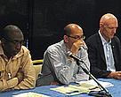 Peter Garrett, Minister for the Environment, Heritage and the Arts (far right), with Dr. Lorenzo Rojas, IWC commissioner for Mexico (C), and Mamadou Diallo of WWF West-Africa Marine Ecoregional Programme (left).